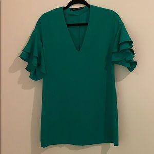 Zara Green Flutter Sleeved Dress